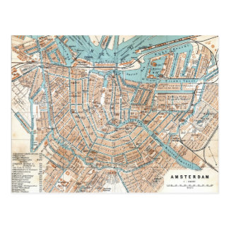 Mapa del vintage de Amsterdam (1905) Tarjetas Postales