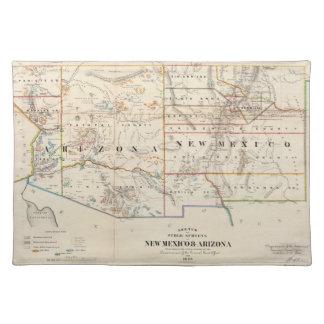 Mapa del vintage de Arizona y de New México (1866) Mantel