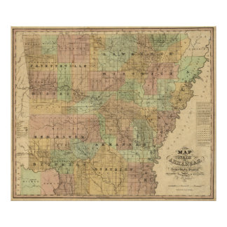 Mapa del vintage de Arkansas (1839) Póster
