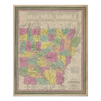 Mapa del vintage de Arkansas (1853) Impresiones