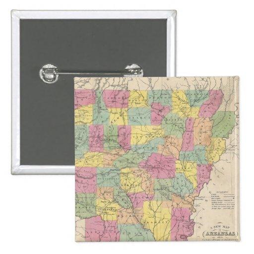 Mapa del vintage de Arkansas (1853) Pins