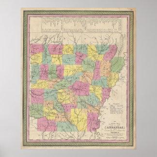 Mapa del vintage de Arkansas (1853) Póster