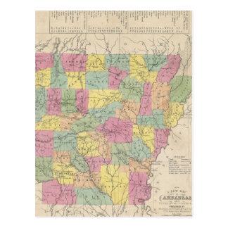 Mapa del vintage de Arkansas (1853) Tarjetas Postales