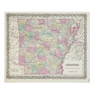 Mapa del vintage de Arkansas (1855) Poster