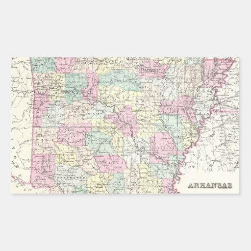 Mapa del vintage de Arkansas (1855) Pegatina Rectangular