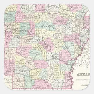 Mapa del vintage de Arkansas (1855) Pegatina Cuadradas Personalizadas