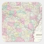 Mapa del vintage de Arkansas (1855) Pegatina Cuadrada
