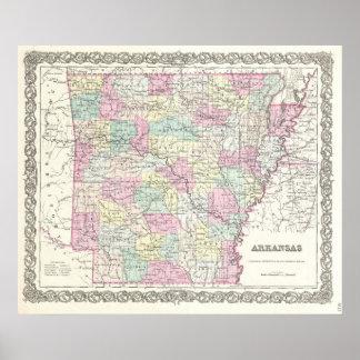 Mapa del vintage de Arkansas (1855) Póster