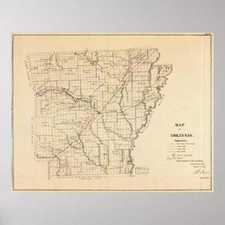Mapa del vintage de Arkansas (1866) Póster
