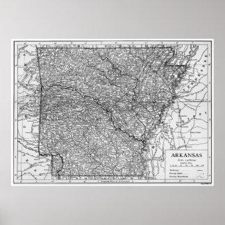 Mapa del vintage de Arkansas (1911) Póster