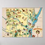 Mapa del vintage de Arkansas Impresiones