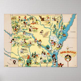 Mapa del vintage de Arkansas Póster