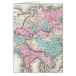 Mapa del vintage de Asia (1855) Felicitacion