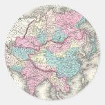 Mapa del vintage de Asia (1855) Pegatina Redonda