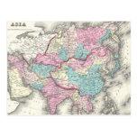 Mapa del vintage de Asia (1855) Postal