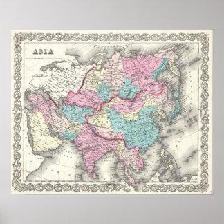 Mapa del vintage de Asia (1855) Póster