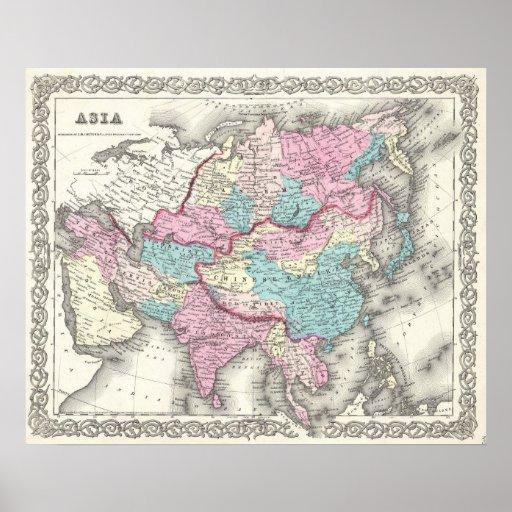 Mapa del vintage de Asia (1855) Poster