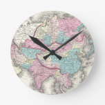 Mapa del vintage de Asia (1855) Reloj De Pared