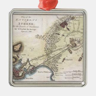 Mapa del vintage de Atenas (1784) Adorno Navideño Cuadrado De Metal