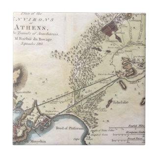 Mapa del vintage de Atenas (1784) Azulejo Cuadrado Pequeño