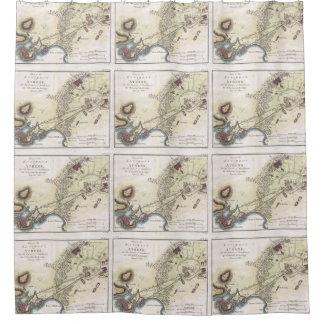 Mapa del vintage de Atenas (1784) Cortina De Baño