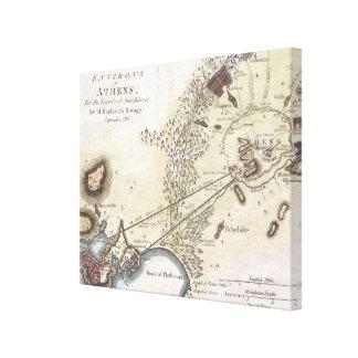 Mapa del vintage de Atenas (1784) Lona Envuelta Para Galerias