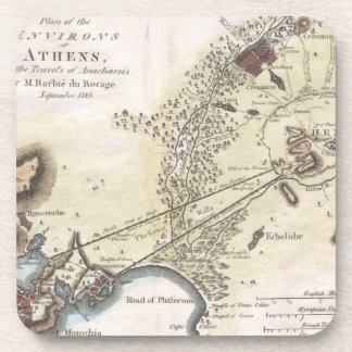 Mapa del vintage de Atenas (1784) Posavasos De Bebida