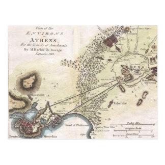 Mapa del vintage de Atenas (1784) Postales