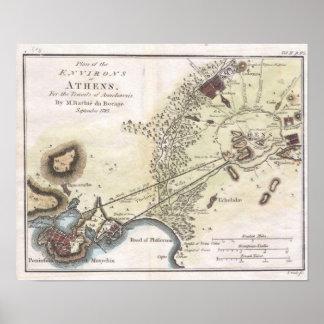 Mapa del vintage de Atenas (1784) Póster