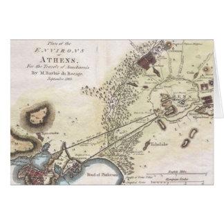 Mapa del vintage de Atenas (1784) Tarjeta De Felicitación