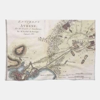Mapa del vintage de Atenas (1784) Toalla De Cocina