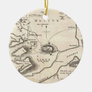 Mapa del vintage de Atenas Grecia (1784) Adorno Navideño Redondo De Cerámica