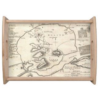 Mapa del vintage de Atenas Grecia (1784) Bandejas
