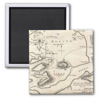 Mapa del vintage de Atenas Grecia (1784) Imán Cuadrado