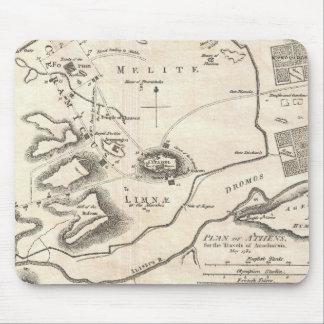Mapa del vintage de Atenas Grecia (1784) Mousepads