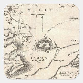 Mapa del vintage de Atenas Grecia (1784) Pegatina Cuadrada
