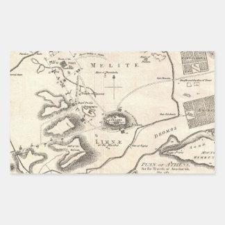 Mapa del vintage de Atenas Grecia (1784) Pegatina Rectangular