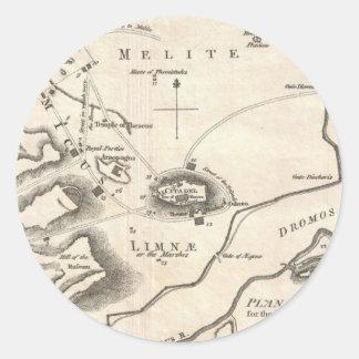 Mapa del vintage de Atenas Grecia (1784) Pegatina Redonda