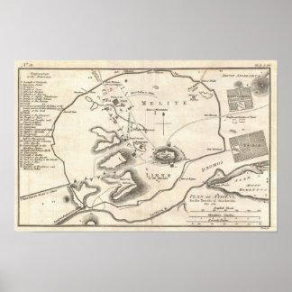 Mapa del vintage de Atenas Grecia (1784) Póster