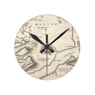 Mapa del vintage de Atenas Grecia (1784) Reloj Redondo Mediano