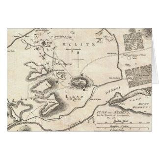 Mapa del vintage de Atenas Grecia (1784) Tarjeta De Felicitación