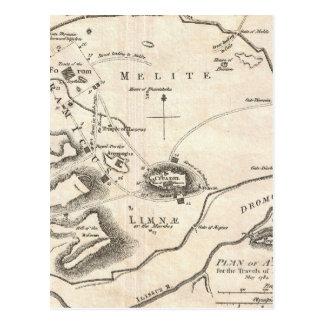 Mapa del vintage de Atenas Grecia (1784) Tarjetas Postales