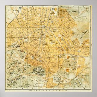 Mapa del vintage de Atenas Grecia (1894) Póster