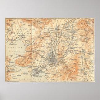 Mapa del vintage de Atenas Grecia (1908) Póster