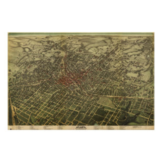 Mapa del vintage de Atlanta (1892) Póster