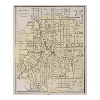 Mapa del vintage de Atlanta Georgia (1901) Póster