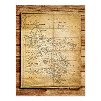 Mapa del vintage de Australasia Tarjetas Postales