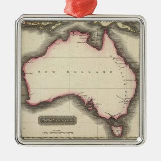Mapa del vintage de Australia (1817) Adorno Navideño Cuadrado De Metal