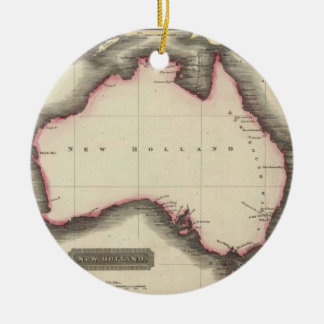 Mapa del vintage de Australia (1817) Adorno Navideño Redondo De Cerámica