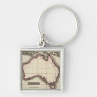 Mapa del vintage de Australia (1817) Llavero Cuadrado Plateado